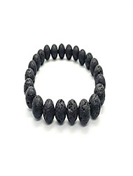 cheap -men women natural lava gem stone beads elastic 8mm bracelet handmade jewelry (black holed)