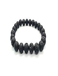 cheap -men women natural lava gem stone beads elastic 8mm bracelet handmade jewelry (black holed)