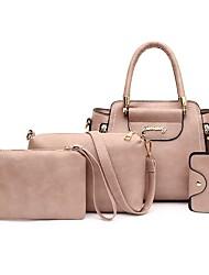 cheap -Women's Bags PU Leather Bag Set Date Office & Career Bag Sets Handbags Black Purple Red Blushing Pink