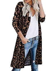 cheap -Women's Knitted Leopard Cardigan Long Sleeve Sweater Cardigans V Neck Fall Winter Black Wine Brown