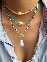 cheap -Women's Choker Necklace Beaded Necklace Beads Friends Vertical / Gold bar Joy Statement Ethnic Vintage Cute Pearl Crystal Stone Picture color Champagne Gold Green 45 cm Necklace Jewelry 1pc For
