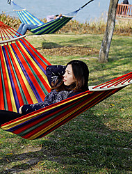 cheap -Camping Hammock with Hardwood Spreader Outdoor Flexible Folding Canvas for 1 person Camping Team Sports Stripes Orange+White Blue Rose Red 200*100 cm with Hardwood Spreader Bars