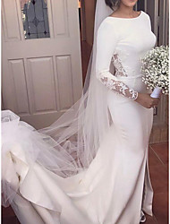 cheap -Mermaid / Trumpet Wedding Dresses Jewel Neck Court Train Stretch Fabric Long Sleeve Simple Sexy with Lace Appliques 2021