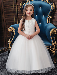 cheap -Princess / Ball Gown Floor Length Wedding / Party Flower Girl Dresses - Tulle Sleeveless Jewel Neck with Lace / Beading / Solid