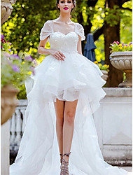cheap -A-Line Wedding Dresses Bateau Neck Chapel Train Asymmetrical Organza Short Sleeve Country Romantic Little White Dress Cute with Ruffles Appliques 2021