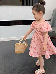 cheap -Kid's Little Girls' Dress Butterfly Casual Floral Summer Dresses