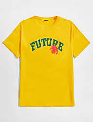 cheap -Men's Unisex T shirt Hot Stamping Letter Plus Size Print Short Sleeve Casual Tops 100% Cotton Basic Casual Fashion Yellow