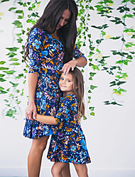cheap -Mommy and Me Dress Graphic Print Blue Sleeveless Maxi Matching Outfits