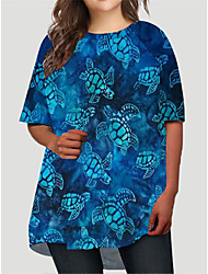 cheap -Women's Plus Size Graphic Animal Print Basic Half Sleeve Fall Short Mini Dress T Shirt Dress Tee Dress Blue