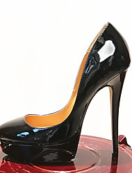 cheap -Women's Heels Stiletto Heel Round Toe PU Solid Colored Black Red