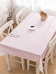 cheap -Table Cloth PVC(PolyVinyl Chloride) Dust-Proof Contemporary Lattice Tabel cover Table decorations for Daily Wear Square 137*90 cm White 1 pcs
