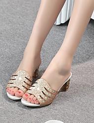 cheap -Women's Heels Chunky Heel PU Golden Silver