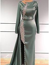 cheap -Sheath / Column Glittering Elegant Engagement Formal Evening Dress Jewel Neck Long Sleeve Sweep / Brush Train Charmeuse with Beading Sequin 2021