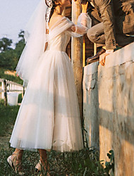 cheap -A-Line Wedding Dresses Off Shoulder Ankle Length Tulle Long Sleeve Country Romantic with Buttons Cascading Ruffles 2021