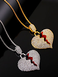 cheap -Men's Women's White Synthetic Diamond Pendant Necklace Long Necklace Pave Heart Romantic European Hip Hop Imitation Diamond Alloy Gold Silver 51-80 cm Necklace Jewelry 1pc For Street Gift Prom