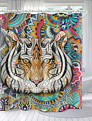 cheap -Color Tiger Head Digital Printing Shower Curtain Shower Curtains  Hooks Modern Polyester New Design