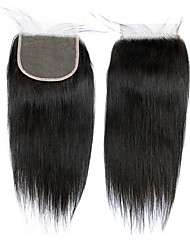 cheap -Brazilian Hair / Indian Hair 4x4 Closure Straight Free Part Middle Part / Side Part Korean Lace Remy Human Hair Women's Lace Closure