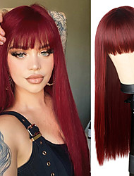 cheap -Synthetic Wig Natural Straight Braid Neat Bang Wig Long A15 A16 A17 A18 A19 Synthetic Hair Women's Cosplay Party Fashion Burgundy Mixed Color