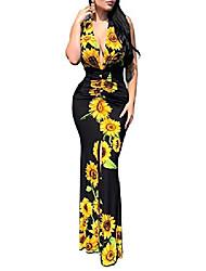 cheap -Women's Sheath Dress Maxi long Dress L Black sunflower Red chain Blue Maple Leaf Cross-border explosions Black chain White peacock Navy blue chain Sleeveless Pattern Spring Summer Elegant & Luxurious