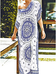 cheap -Blue and White Boho Maxi Cover Up Kaftan - ONE SIZE