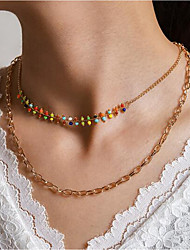 cheap -Women's Layered Necklace Simple Sweet Alloy Gold 42 cm Necklace Jewelry 1pc For Festival