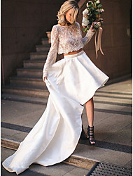 cheap -Two Piece Wedding Dresses Jewel Neck Court Train Asymmetrical Lace Satin Long Sleeve Beach Cute with Pleats Appliques 2021