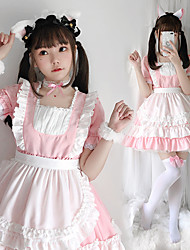 cheap -Lolita Lolita Cute Dress Maid Suits Women's Japanese Cosplay Costumes Light Pink Solid Colored Short Sleeve Above Knee / Apron