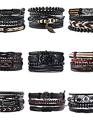 cheap -men's Leather Wrap Bracelet Braided Fashion Classic Leather Bracelet Jewelry Black For Anniversary Formal