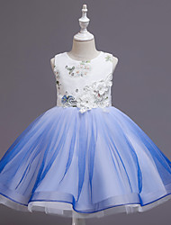 cheap -Ball Gown Knee Length Wedding / Event / Party Flower Girl Dresses - Tulle / Polyester Sleeveless Jewel Neck with Tier / Embroidery / Pattern / Print