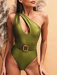 cheap -Women's One Piece Swimsuit Geometric Yellow Green Swimwear Bathing Suits