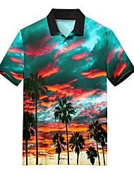 cheap -Men's Golf Shirt Tennis Shirt 3D Print Scenery Coconut Tree Button-Down Print Short Sleeve Casual Tops Casual Fashion Soft Breathable Rainbow / Sports