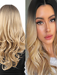 cheap -Synthetic Wig Deep Wave Middle Part Wig Medium Length A15 A16 A17 A18 A19 Synthetic Hair Women's Cosplay Party Fashion Blonde