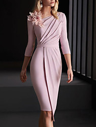 cheap -Sheath / Column Mother of the Bride Dress Elegant Bateau Neck Knee Length Stretch Satin 3/4 Length Sleeve with Ruching Flower 2021