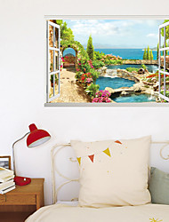 cheap -3D False Window Seaside Fairy Tale Town Home Background Decoration Can Be Removed Sticker 60*90cm