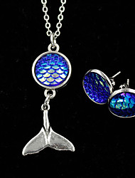cheap -Princess Goddess Necklace Holiday Jewelry Girls' Movie Cosplay Pendant Sparkle & Shine Blue 1 Pair of Earrings Necklace Earring Christmas Halloween Carnival Plastics