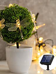 preiswerte -Outdoor-Solar Lichterkette Solarenergie LED-Lichterkette Outdoor-Lampe 5m 20leds Outdoor Waterpoof Libelle Garten Garten Rasen Party Urlaub Dekoration warmweiße Beleuchtung IP68 LED Solar Garten Licht