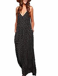 cheap -Women's Strap Dress Maxi long Dress Black Sleeveless Polka Dot Spring Summer V Neck Casual Loose 2021 S M L XL XXL