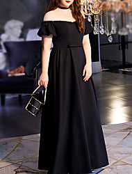 cheap -A-Line Minimalist Plus Size Wedding Guest Formal Evening Dress Illusion Neck Short Sleeve Floor Length Spandex with Bow(s) 2021