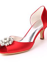 cheap -Women's Wedding Shoes Kitten Heel Peep Toe Wedding Sandals Satin Rhinestone Pearl Solid Colored White Purple Red
