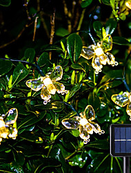 cheap -Solar LED String Lights 6.5m 30LEDs Outdoor Waterpoof Butterfly Warm White Colorful White 8 Mode Outdoor Waterproof Fairy Light Wedding Patio Garden House Holiday Decoration Lamp