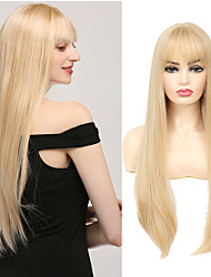cheap -Blonde Wig Long Straight Synthetic Wigs With Bangs For Women Middle Part High Temperature Fiber Party Daily Cosplay Wig IPARTY