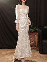 cheap -Sheath / Column Sparkle Sexy Prom Formal Evening Dress V Neck 3/4 Length Sleeve Ankle Length Sequined with Sequin 2021
