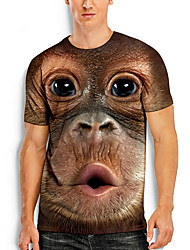cheap -Men's Tees T shirt 3D Print Graphic Prints Orangutan Animal Print Short Sleeve Daily Tops Basic Casual Khaki