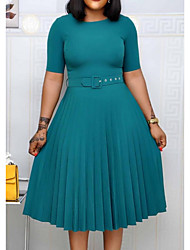 cheap -Women's Plus Size Dress A Line Dress Knee Length Dress Short Sleeve Solid Color Ruched Casual Spring &  Fall Wine Green Navy Blue L XL XXL 3XL