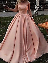cheap -Ball Gown Minimalist Elegant Wedding Guest Prom Dress Strapless Sleeveless Floor Length Satin with Pleats 2021