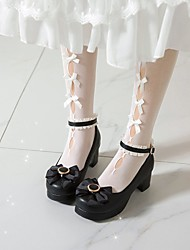 cheap -Women's Lolita Shoes Platform Round Toe Microfiber Bowknot Lace Solid Colored White Black Pink