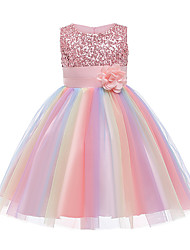cheap -Kids Little Girls' Dress Rainbow Flower Party Tutu Dresses Sequins Pleated Bow Blue Purple Blushing Pink Knee-length Sleeveless Active Cute Dresses Easter 2-12 Years