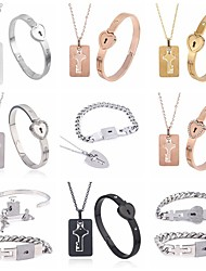 cheap -Couple's Pendant Necklace Long Necklace Sexy Love Fashion Stainless Steel Rose Gold Black Silver 50 cm Necklace Jewelry For