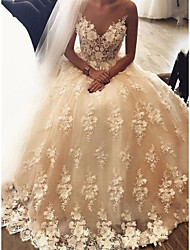 cheap -Princess A-Line Wedding Dresses Jewel Neck Floor Length Lace Tulle Sleeveless Country Romantic Luxurious with Pleats Appliques 2021