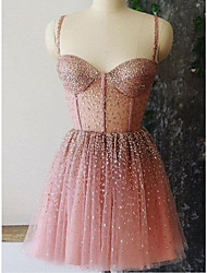 cheap -A-Line Sparkle Sexy Homecoming Cocktail Party Dress Spaghetti Strap Sleeveless Short / Mini Tulle with Pleats 2021